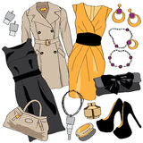Woman wardrobe clothes accessories set Stock Images