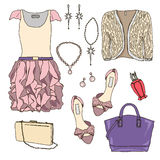 Woman wardrobe clothes accessories set Royalty Free Stock Photos