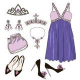 Woman wardrobe clothes accessories set Royalty Free Stock Image