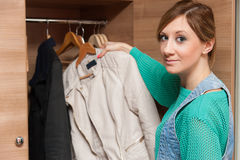 Woman and Wardrobe Royalty Free Stock Photography
