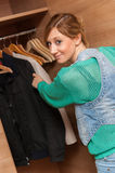 Woman and Wardrobe Stock Photo