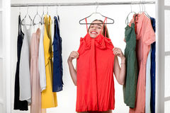 Woman in wardrobe Royalty Free Stock Image