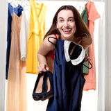 Woman in wardrobe Stock Photo