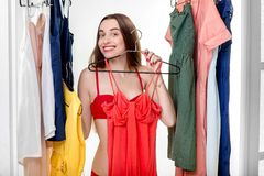 Woman in wardrobe Royalty Free Stock Photo