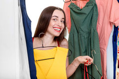 Woman in wardrobe Stock Photos