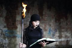 Warlock with a torch. Woman Warlock with a torch and a book royalty free stock images