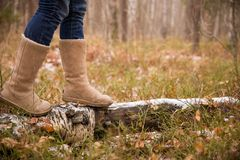 Woman in warm boots on the old log with first snow in the forest. Walking in the winter park. Outdoors winter activities royalty free stock images