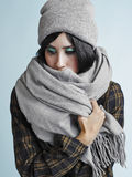 Woman and warm clothes Royalty Free Stock Photography