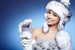 Woman in warm clothing Stock Photos