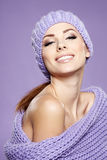 Woman  in warm clothing Royalty Free Stock Images