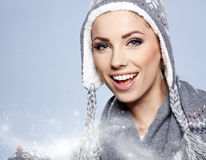 Woman in warm clothing Royalty Free Stock Image