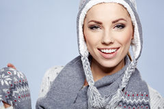 Woman in warm clothing Royalty Free Stock Photo