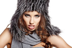 woman in warm clothing closeup portrait Stock Photography