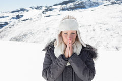 Woman in warm clothing shivering on snowed landscape Stock Photo
