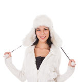 Woman in warm clothing on white Royalty Free Stock Photography