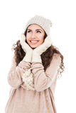 Woman in warm clothing on white Royalty Free Stock Photos