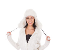 Woman in warm clothing on white Stock Image