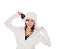Woman in warm clothing on white Stock Photography