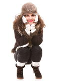 Woman in warm clothing winter fashion Stock Photography
