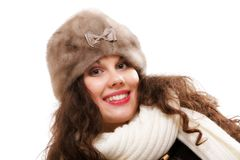 Woman in warm clothing winter fashion Royalty Free Stock Photography