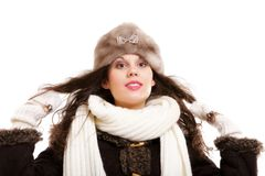 Woman in warm clothing winter fashion Stock Image