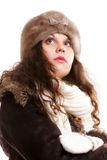 Woman in warm clothing winter fashion Royalty Free Stock Images