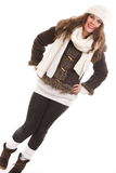 Woman in warm clothing winter fashion Royalty Free Stock Photo