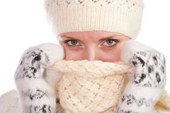 Woman warm dresssed Royalty Free Stock Photography
