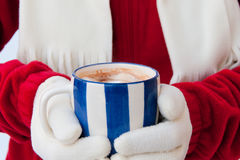 Woman in warm gloves holding cup of hot chocolate with marshmall Royalty Free Stock Photo