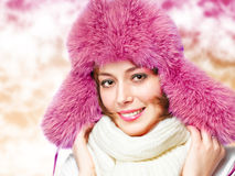 Woman in a warm hat Royalty Free Stock Photos