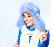 Woman in a warm hat Royalty Free Stock Images