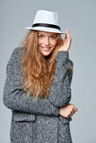 Woman in warm knitted cardigan Royalty Free Stock Photos