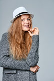 Woman in warm knitted cardigan Stock Image