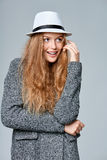 Woman in warm knitted cardigan Royalty Free Stock Image