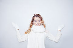 Woman  in  warm knitted scarf and gloves happy Stock Photos