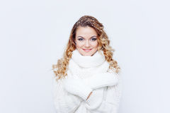 Woman  in  warm knitted scarf and gloves, portrait Stock Images