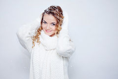 Woman  in  warm knitted scarf and gloves, portrait Stock Photo
