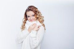 Woman  in  warm knitted scarf and gloves, portrait Royalty Free Stock Photography