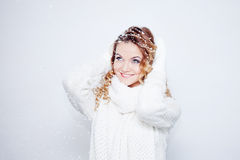 Woman  in  warm knitted scarf and gloves, portrait Royalty Free Stock Photos