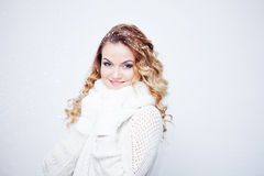 Woman  in  warm knitted scarf and gloves, portrait Stock Photos