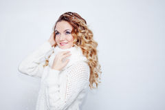 Woman  in  warm knitted scarf and gloves, portrait Royalty Free Stock Photo
