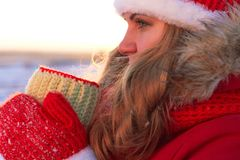 A woman, in warm red clothes, drinks hot tea or coffee in the nature in the warm sunset Royalty Free Stock Images