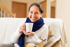 Woman in warm scarf Stock Photo