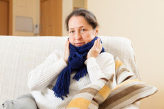 Woman in warm scarf Stock Photo