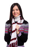 Woman in warm sweater Stock Photos