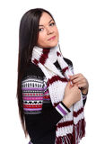Woman in warm sweater Royalty Free Stock Images