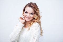 Woman in warm sweater, portrait on  white Royalty Free Stock Photo