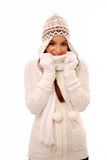 Woman in warm winter clothing Stock Images