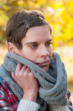 Woman in warm winter scarf royalty free stock image