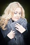 Woman in warming Fur Stock Photo